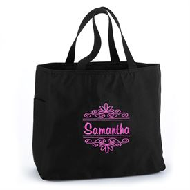 Black Flourish Tote Bag