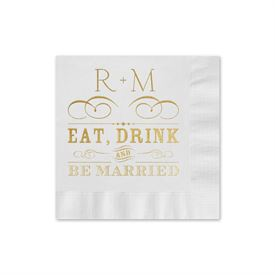 Be Married - White - Foil Cocktail Napkin