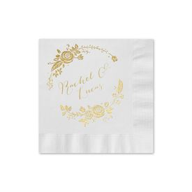 Roses and Whimsy - White - Foil Cocktail Napkin
