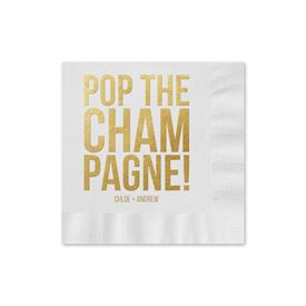 Pop the Champagne - White - Foil Cocktail Napkin