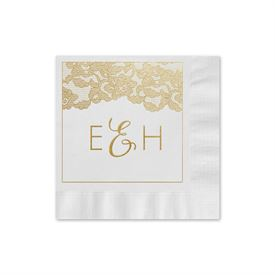 Vintage Lace - White - Foil Cocktail Napkin