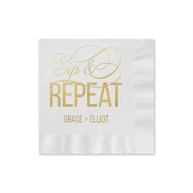 Sip & Repeat - White - Foil Cocktail Napkin