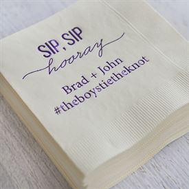 Sip, Sip Hooray - White - Foil Cocktail Napkin