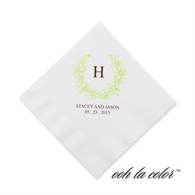 Floral Crest - Leaf - Cocktail Napkin