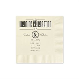Party Itinerary - Ecru - Foil Cocktail Napkin