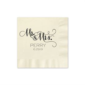 Mr. and Mrs. - Ecru - Foil Cocktail Napkin