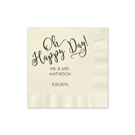 Oh Happy Day - Ecru - Foil Cocktail Napkin