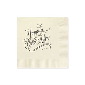 Happily Ever After - Ecru - Foil Cocktail Napkin