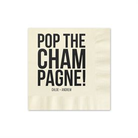 Pop the Champagne - Ecru - Foil Cocktail Napkin