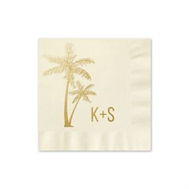 Palm Trees - Ecru - Foil Cocktail Napkin