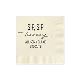 Sip, Sip Hooray - Ecru - Foil Cocktail Napkin