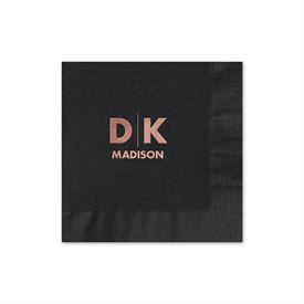 Modern Signature - Black - Foil Cocktail Napkin