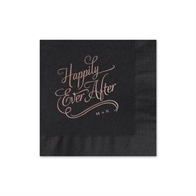 Happily Ever After - Black - Foil Cocktail Napkin