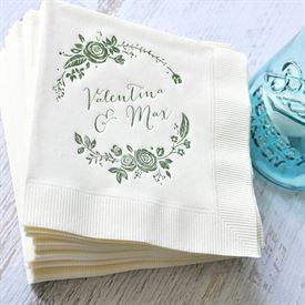 Roses and Whimsy - Black - Foil Cocktail Napkin