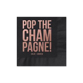 Personalized Wedding Napkins Pop The Champagne Foil Tail Napkin