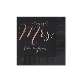 Almost Mrs. - Black - Foil Cocktail Napkin
