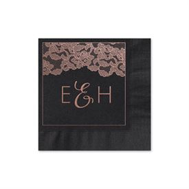 Vintage Lace - Black - Foil Cocktail Napkin