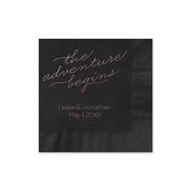 The Adventure Begins - Black - Foil Cocktail Napkin