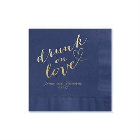 Drunk on Love - Navy - Foil Cocktail Napkin