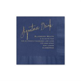 Signature Drink - Navy - Foil Cocktail Napkin