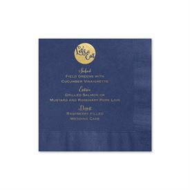 Lets Eat - Navy - Foil Cocktail Napkin