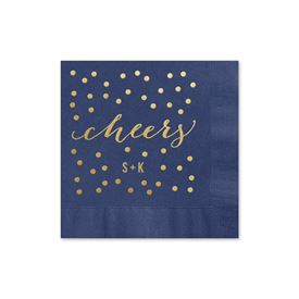 Cheers - Navy - Foil Cocktail Napkin