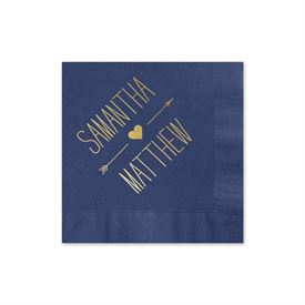 Heart and Arrow - Navy - Foil Cocktail Napkin