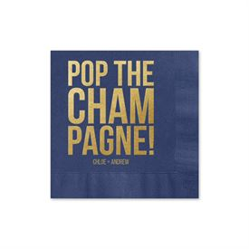 Pop the Champagne - Navy - Foil Cocktail Napkin
