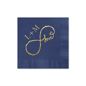 Love for Infinity - Navy - Foil Cocktail Napkin