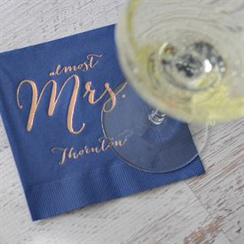 Almost Mrs. - Navy - Foil Cocktail Napkin