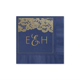 Vintage Lace - Navy - Foil Cocktail Napkin