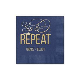 Sip & Repeat - Navy - Foil Cocktail Napkin