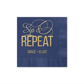 Sip & Repeat - Navy - Foil Cocktail Napkin