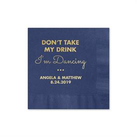 Busy Dancing - Navy - Foil Cocktail Napkin