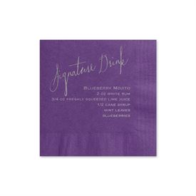 Signature Drink - Purple - Foil Cocktail Napkin