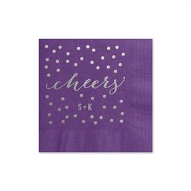 Cheers - Purple - Foil Cocktail Napkin