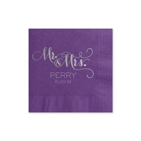 Mr. and Mrs. - Purple - Foil Cocktail Napkin