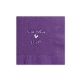 Heartfelt - Purple - Foil Cocktail Napkin