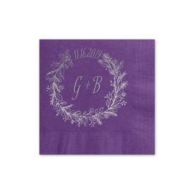 Wreath Frame - Purple - Foil Cocktail Napkin