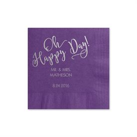 Oh Happy Day - Purple - Foil Cocktail Napkin