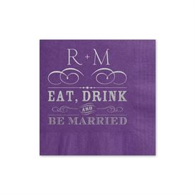 Be Married - Purple - Foil Cocktail Napkin