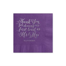 First Toast - Purple - Foil Cocktail Napkin