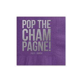 Pop the Champagne - Purple - Foil Cocktail Napkin
