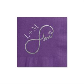 Love for Infinity - Purple - Foil Cocktail Napkin