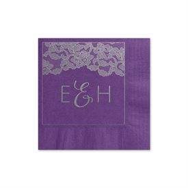 Vintage Lace - Purple - Foil Cocktail Napkin