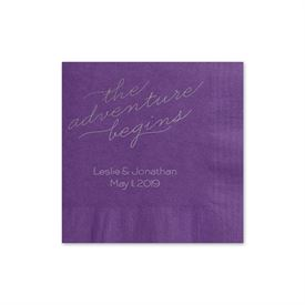 The Adventure Begins - Purple - Foil Cocktail Napkin