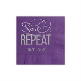 Sip & Repeat - Purple - Foil Cocktail Napkin