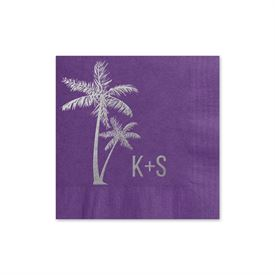 Palm Trees - Purple - Foil Cocktail Napkin