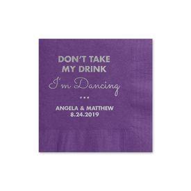 Busy Dancing - Purple - Foil Cocktail Napkin