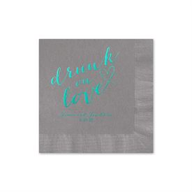 Drunk on Love - Pewter - Foil Cocktail Napkin